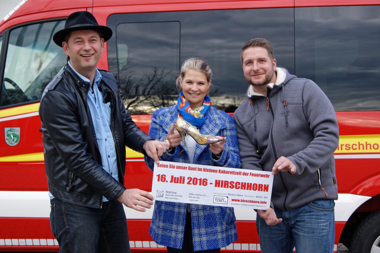 Die drei Akteure von Oschnputtl - Tom Bauer, Eva Petzenhauser und Sebastian Hagengruber - freuen sich schon auf ihren Auftritt bei der Feuerwehr Hirschhorn am 16. Juli 2016
