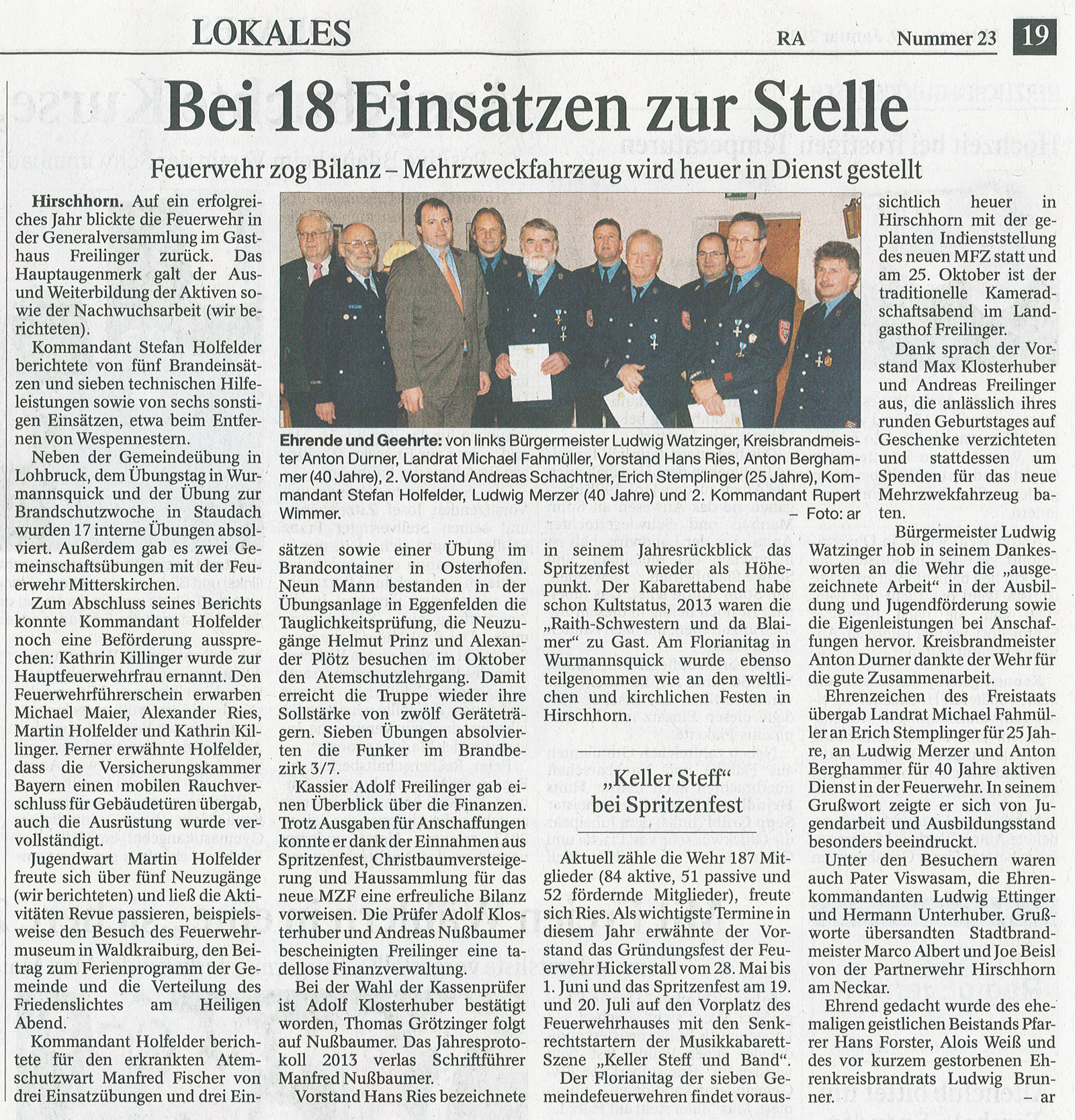 Zeitungsbericht im Rottaler Anzeiger über die Generalversammlung 2014