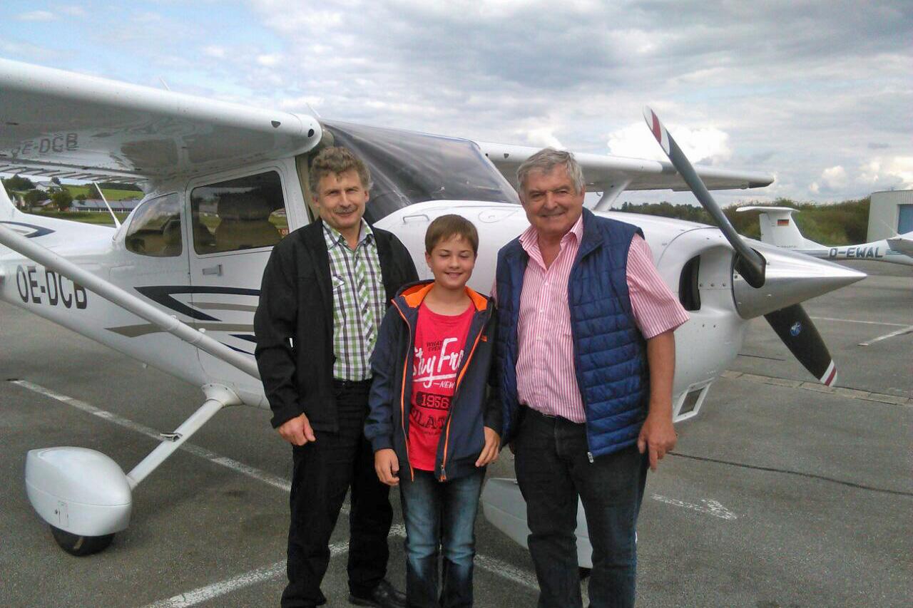 Rupert Wimmer, Sieger Michael Ettinger, Pilot Hans Krapf