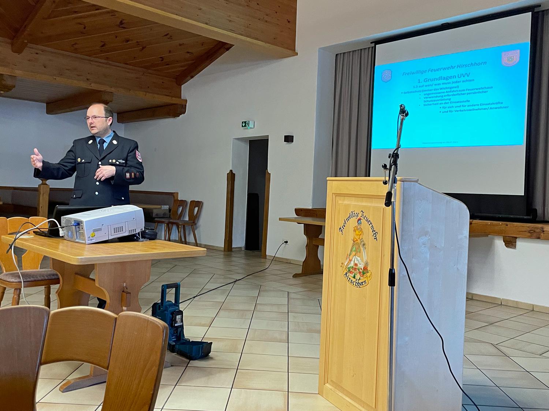 1. Kommandant Stefan Holfelder bei der Dienstversammlung 2021